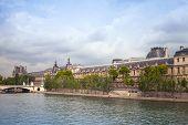 Seine River Coast With Louvre Museum Facade