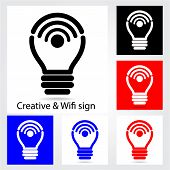 Set Of Creative Light Bulb With Wifi Icons For Business Or Commercial Use.
