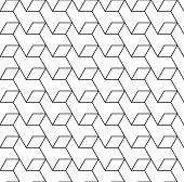 Black And White Geometric Seamless Pattern With Line And Rhombus.