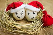 Happy eggs with painted faces in the nest for Christmas.