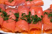 foto of blubber  - Close up of smoked salmon with dill - JPG