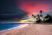 Sunset on the Beach in Hawaii during an overcast day