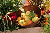still life with apples and pumpkins
