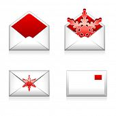 Set of vector e mail icon with snowflake