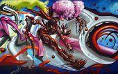 Oct 1,2014 Venice Beach, California Nice editorial Image of a huge graffiti Painting