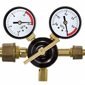 stock photo of manometer  - Gas pressure regulator with manometer isolated on white background - JPG