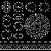 Floral design elements set, vintage frame, borders and round pattern in white color