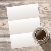 template with white blank empty A4 sheet and cup of coffee