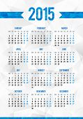 Simple 2015 year European calendar grid