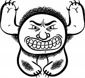 Angry cartoon monster, black and white lines illustration.