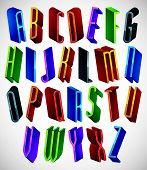 3d font, tall thin letters, geometric dimensional alphabet, best for use in advertising and web desi