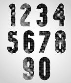 Black and white dotty graphic decorative numbers.