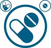 Medical pills icons set, healthcare and medicine symbol