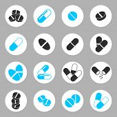 Medical pills icons set, heathcare and medicine symbols collection.