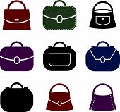 Woman bag icons set. Clothing and accessories theme.
