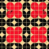 Geometric seamless pattern with diamonds and crosses, vintage ornamental abstract background.