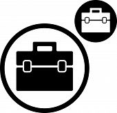 Briefcase icon isolated on white background, includes invert version for you to choose.