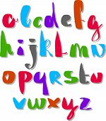 Calligraphic script font, hand drawn colorful alphabet letters.