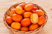 Close Up Fruit Jocote (siriguela, Red, Purple Mombin, Hog Plum, Ciruela Huesito, Sineguela)