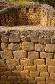 Closeup of wall construction Ingapirca important inca ruins in Ecuador