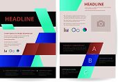 Two Pages Of Flyer Background Layout Design In A4 Size, Create By Vector