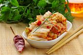 stock photo of korean  - Korean cabbage kimchi with hot red pepper - JPG