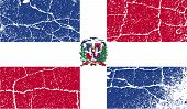 Flag Of Dominican Republic With Old Texture. Vector
