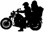 Motorcycle And Bikers Silhouettes