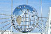 Globe sculpture against blue sky in Sochi, Russian Federation