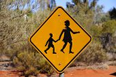 Yellow People Crossing Sign In Outback Australia