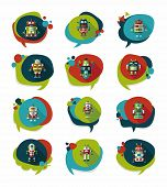 Robot Concept Flat Speech Bubble Background,eps10