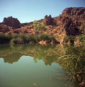 Lagoa do deserto estagnada