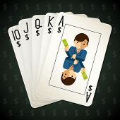 picture of flush  - Business royal flush playing cards - JPG
