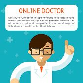 foto of emergency treatment  - Doctor online on the turquoise background - JPG