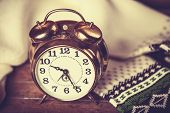 picture of analog clock  - Alarm clock and scarf - JPG