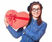 picture of nerd glasses  - Nerd girl in glasses with heart shape gift - JPG
