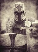 stock photo of crusader  - Crusader with shield and sword - JPG