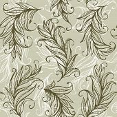 Seamless vector pattern with amazing feathers and leaves