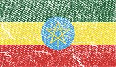 Flag Of Ethiopia With Old Texture. Vector