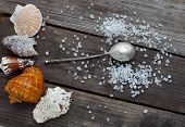 Sea Salt Crystals And A Silver Spoon