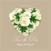 Wedding invitation with  heart of flowers. Vector illustration