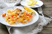 Pasta With Seafood On A White Plate