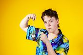 eenage Boy With Watch Showing Time