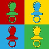 pic of pacifier  - Pop art baby pacifier symbol icons - JPG