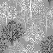 Tree seamless pattern. Vector illustration