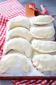 Homemade Raw Dumplings On The Cutting Board