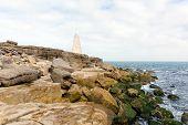 picture of obelisk  - Obelisk Portland Bill Isle of Portland Dorset England UK south of the island warns ships of rocks off the coast during the daytime - JPG