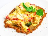 picture of veal  - Crispy veal schnitzel with cheese - JPG