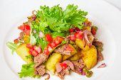 stock photo of swabian  - Swabian potato salad Swabian potato salad with bacon - JPG