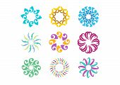 Floral logo template, Set of round abstract infinity flower pattern symbol design